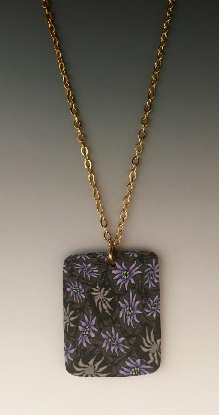 Purple Flower Rectangular Pendant