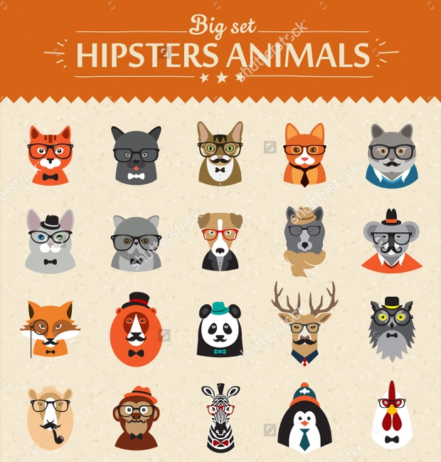 animals hipster icons