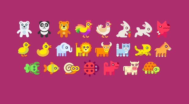 colorful animal icon set