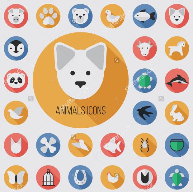 flat animal face icon set