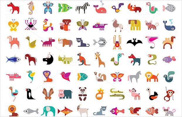 colorful flat animal icons