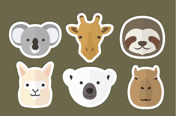 animal head flat icons