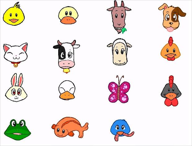 free round animal icons