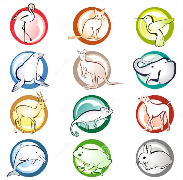 round animal icons
