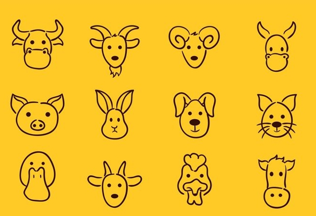 animal face drawing icons