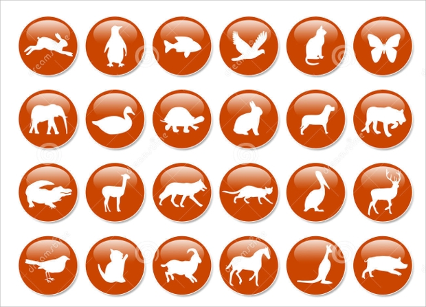 round glossy animal icons