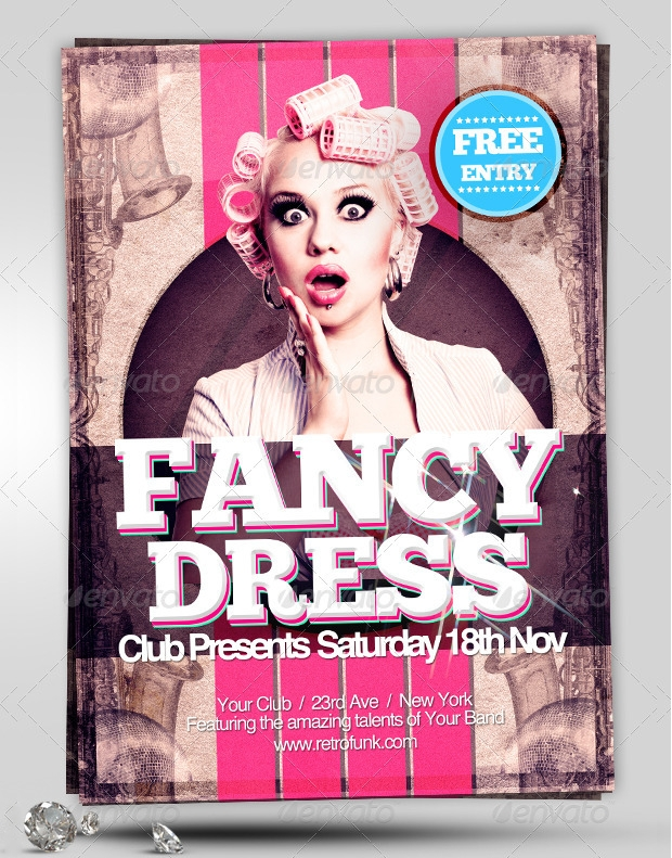 retro fancy dress psd flyer design