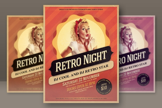 retro night party flyer design