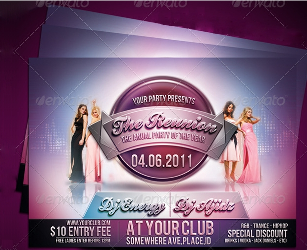 reunion party flyer design