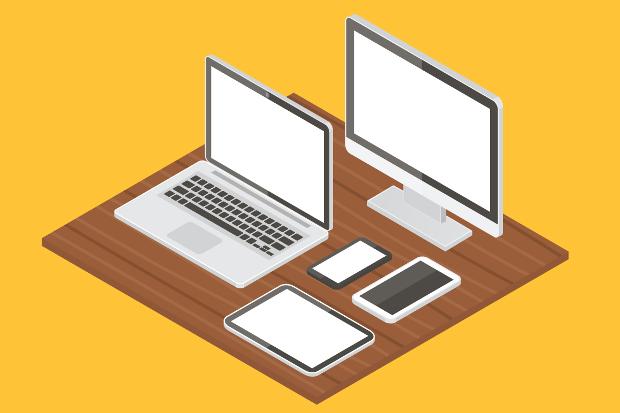 computer equipment vector mockup