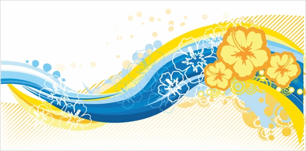 wave curve floral vector