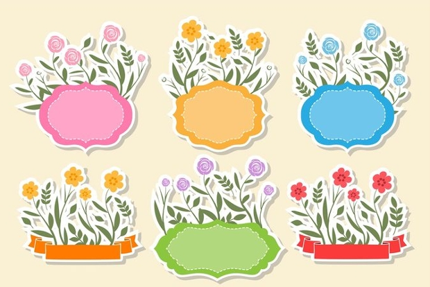 fancy floral text frames vector