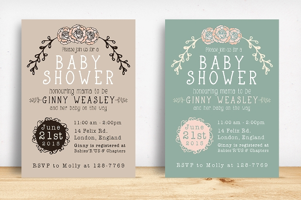 printable baby shower invitation design