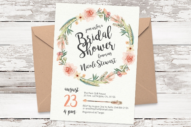 floral bridal shower invitation design