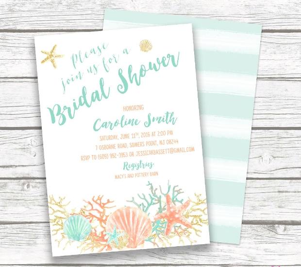 Beach Bridal Shower Invitation Design