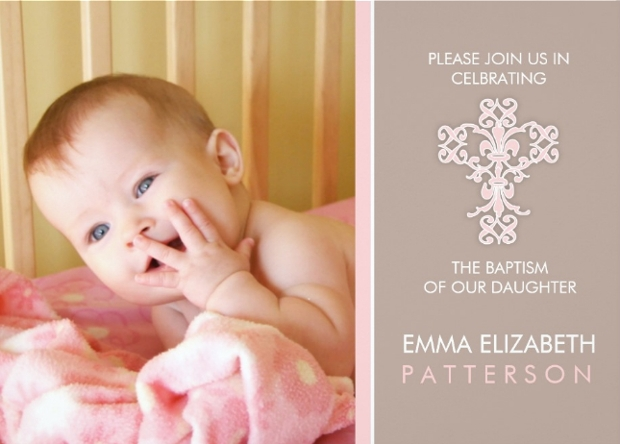 Baby Girl Baptism Invitation Design