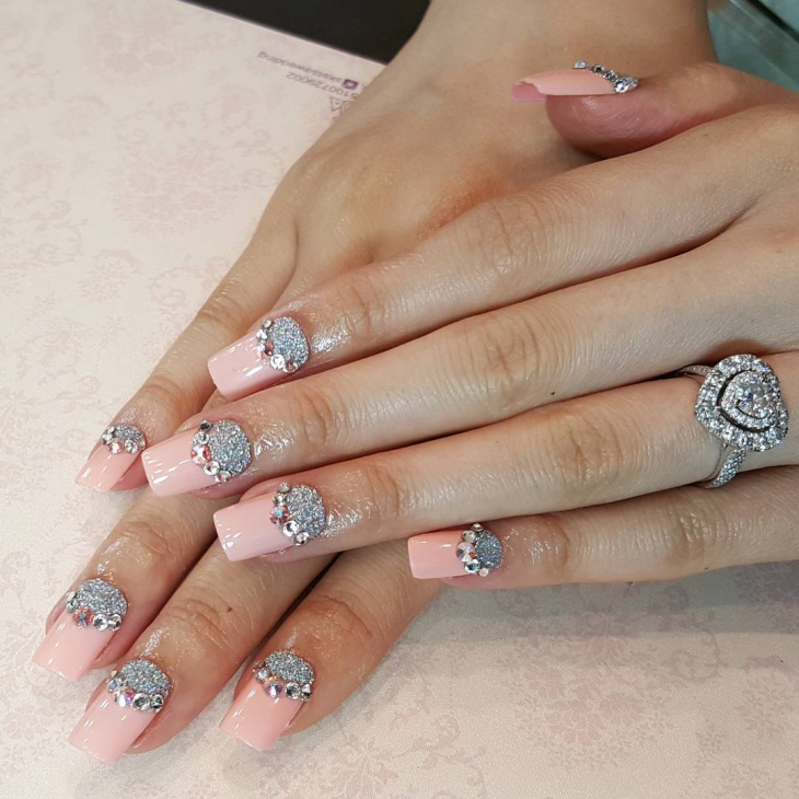 pink wedding nail art design