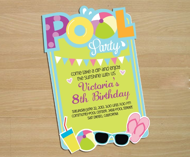 Pool Birthday Party Invitation Design