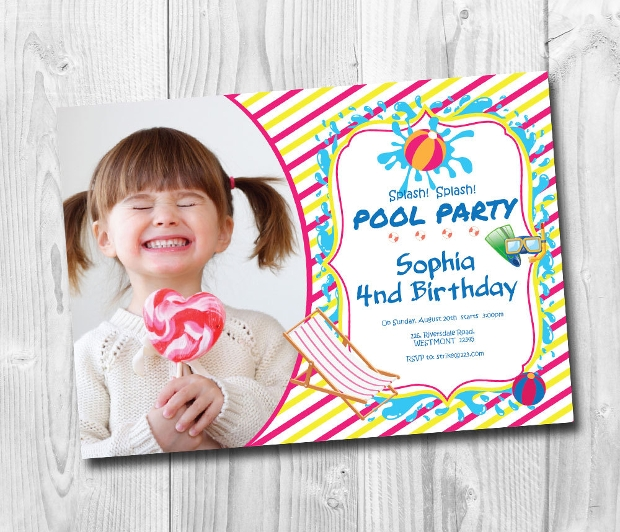 Kids Pool Party Invitation Design