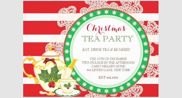 Christmas Tea Party Invitation Design