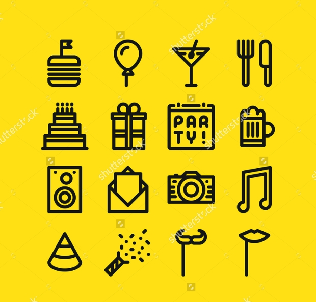 Set of Line Party Icons
