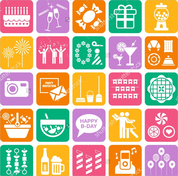 Colorful Party Icons