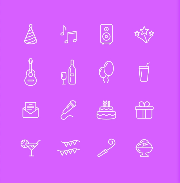 Lines and Solid Party Icons