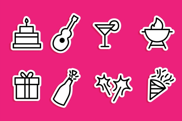 Colorful Pink Party Icons