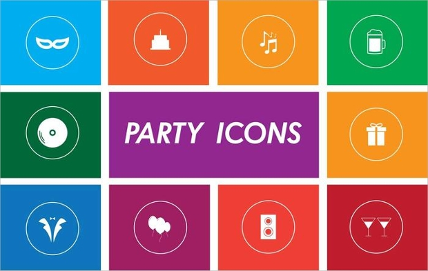 Flat and Colorful Party Icons