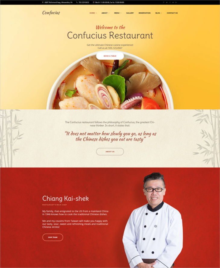 Responsive Restaurant Parallax WordPress Theme