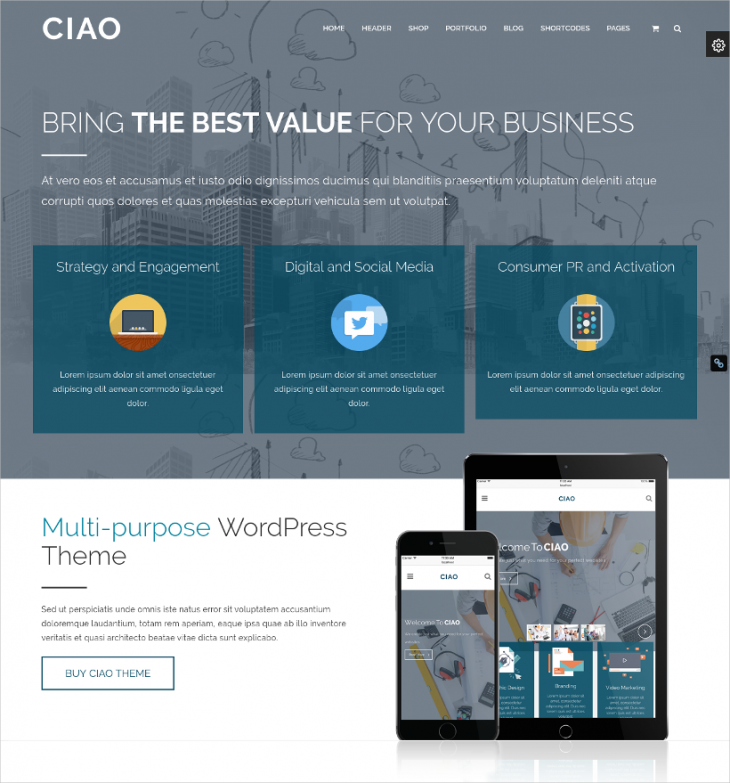 Multi-Purpose Parallax WordPress Template