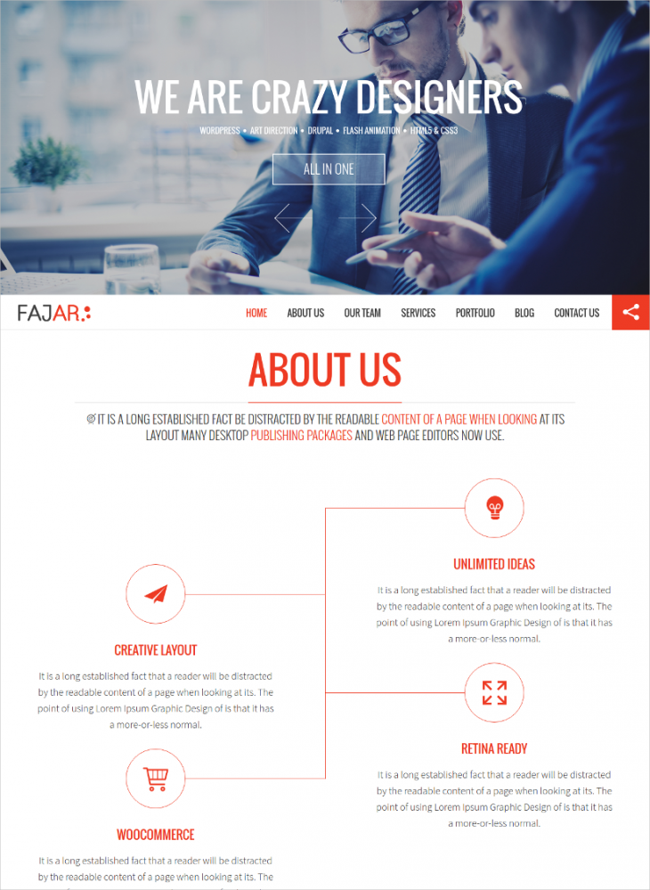One Page Creative Theme