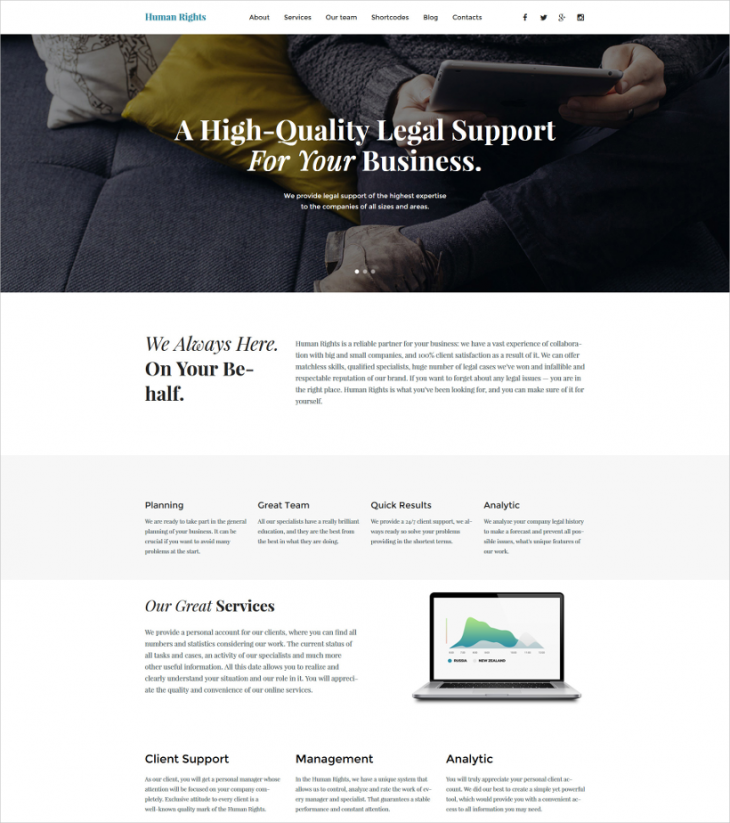 Business Parallax WordPress Template