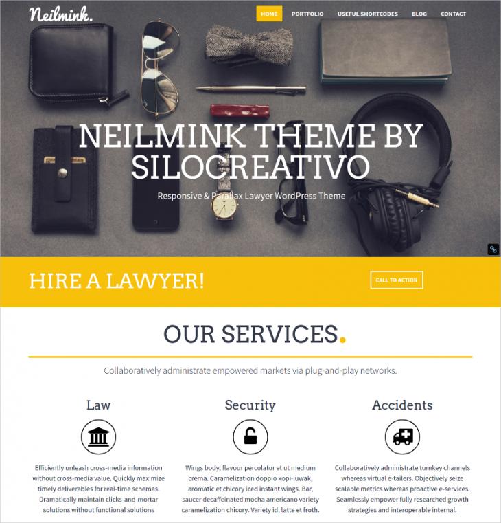 parallax responsive legal wordpress theme