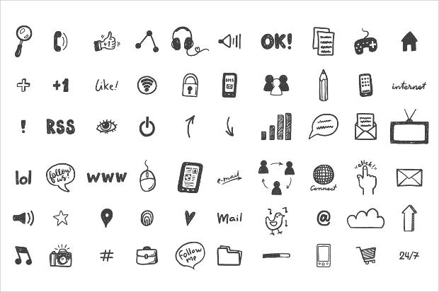 social media doodle icons