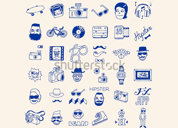 hipster doodle icons