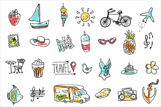 summer and travel doodle icons