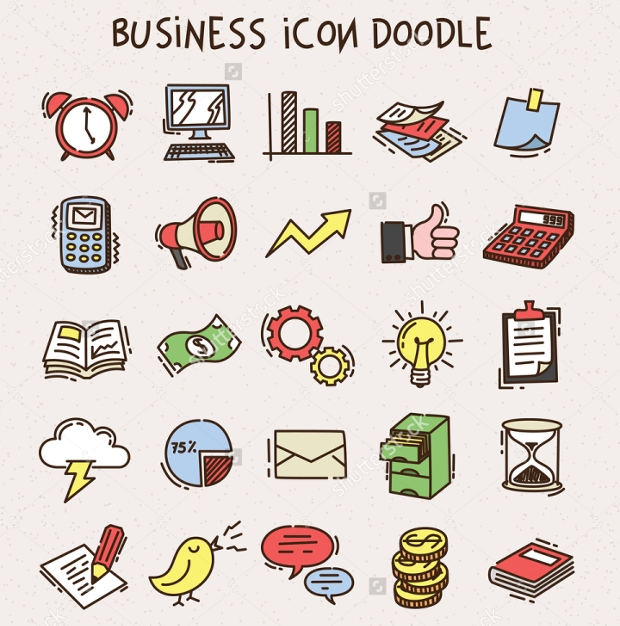 Colorful Business Doodle Icons