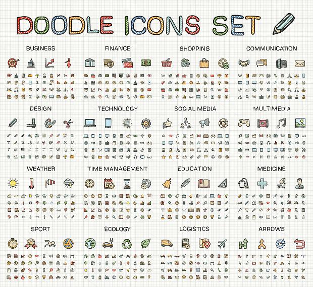 Doodle Sketch Icon Set