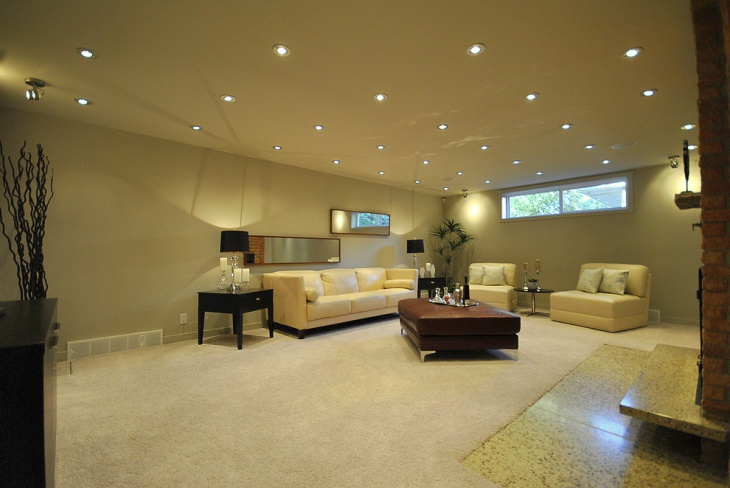 lighting enhances the ambiance of the room recessed basement lighting