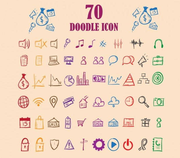 colorful doodle icon set