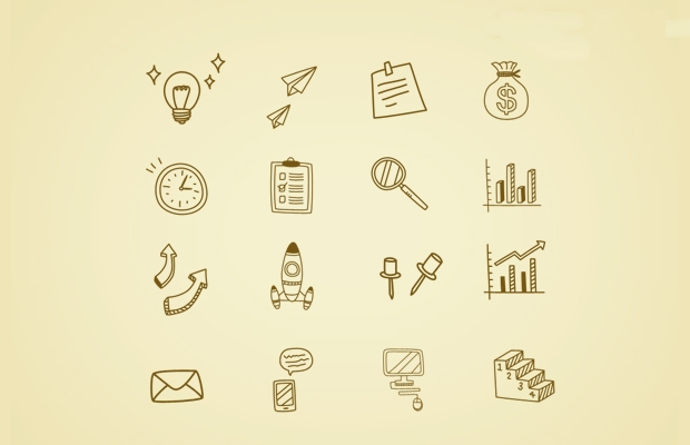 hand drawn business doodle icons