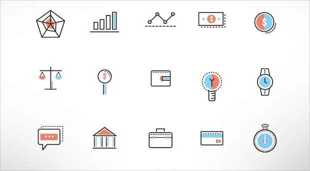 investment doodle icons