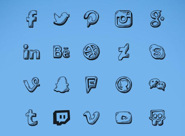 Blue Doodle Icons