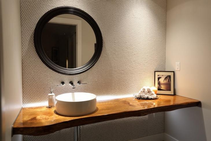 farmhouse powder room vanity