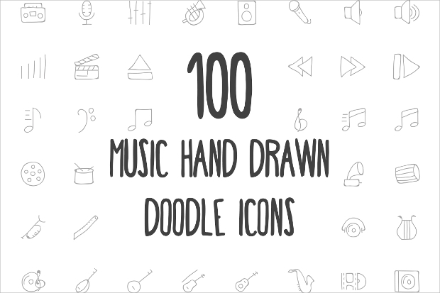music doodle icons