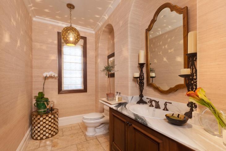 vintage powder room vanity idea