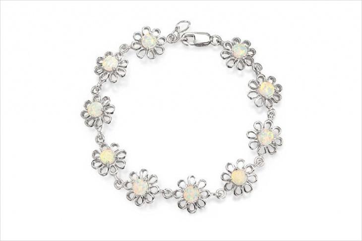 white opal daisy flower bracelet
