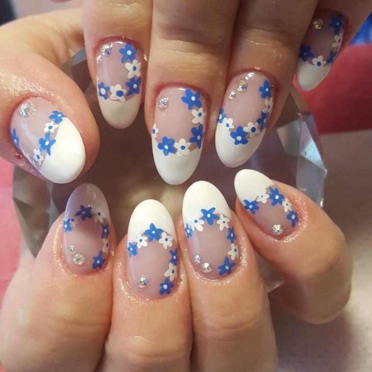 acrylic daisy nail art design
