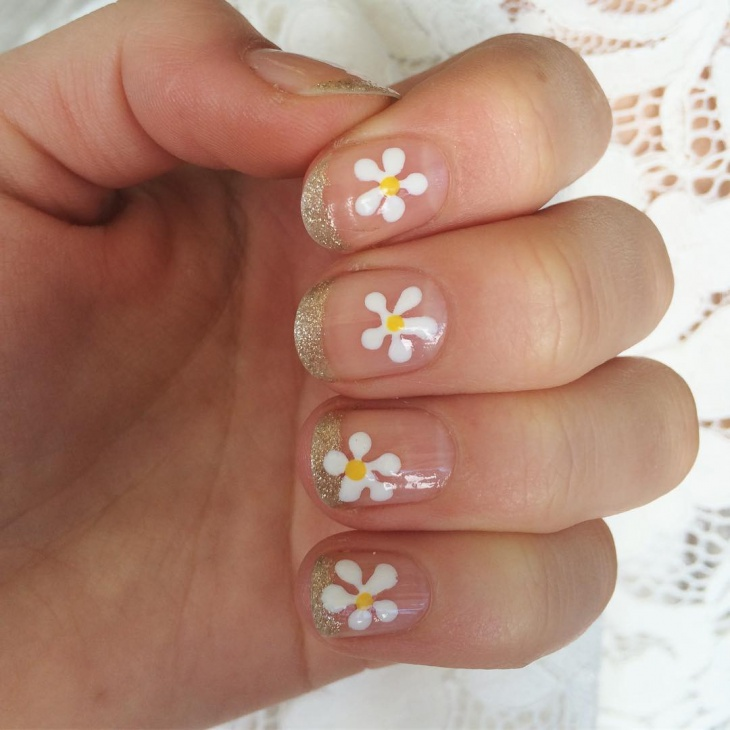 floral daisy nails design